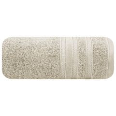 Ręcznik z bawełny zdobiony błyszczącą nitką 70x140cm beżowy - 70 X 140 cm - beżowy 2