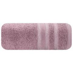 Ręcznik z bawełny zdobiony błyszczącą nitką 50x90cm różowy - 50 X 90 cm - liliowy 2