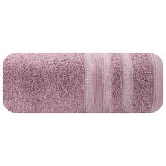 Ręcznik z bawełny zdobiony błyszczącą nitką 70x140cm różowy - 70 X 140 cm - liliowy 2