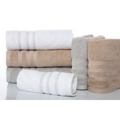 Ręcznik z bawełny zdobiony błyszczącą nitką 70x140cm różowy - 70 X 140 cm - liliowy 3