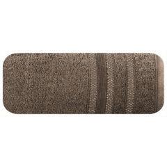 Ręcznik z bawełny zdobiony błyszczącą nitką 50x90cm brązowy - 50 X 90 cm - brązowy 2