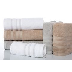Ręcznik z bawełny zdobiony błyszczącą nitką 70x140cm kremowy - 70 X 140 cm - kremowy 3