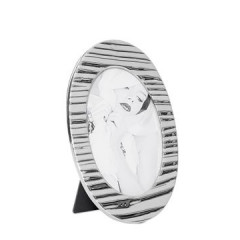 Ramka na zdjęcia owalna ceramiczna 22 x 14 x 0.8 cm - 22 X 14 X 0.8 cm - srebrny 1