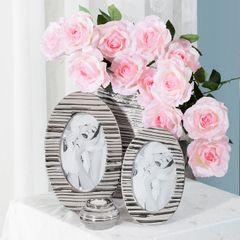Ramka na zdjęcia owalna ceramiczna 28 x 18 x 1 cm - 28 X 18 X 1 cm - srebrny 2