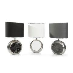 Lampka dekoracyjna ceramiczna stalowo - srebrna 43 cm - 25 X 15 X 43 cm - stalowy/srebrny 2