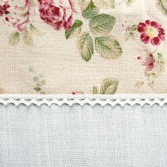 Obrus z listwą w kwiaty i koronką 85 x 85 cm  - 85 X 85 cm - biały/mix kolorów 3