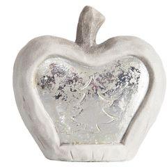 Figurka ceramiczna srebrzyste jabłko 13 x 6 x 14 cm - 13 X 6 X 14 - biały/srebrny 1