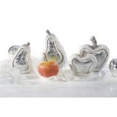 Figurka ceramiczna srebrzyste jabłko 13 x 6 x 14 cm - 13 X 6 X 14 - biały/srebrny 7