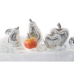 Figurka ceramiczna srebrzyste jabłko 13 x 6 x 14 cm - 13 X 6 X 14 - biały/srebrny 8