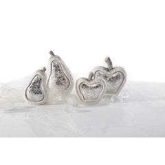 Figurka ceramiczna srebrzyste jabłko 13 x 6 x 14 cm - 13 X 6 X 14 - biały/srebrny 2