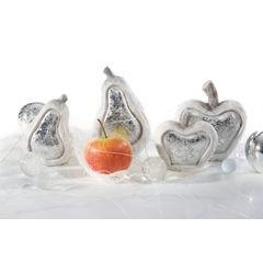 Figurka ceramiczna srebrzyste jabłko 13 x 6 x 14 cm - 13 X 6 X 14 - biały/srebrny 3