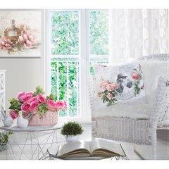 Poszewka dekoracyjna z nadrukiem zdobiona koronką biała 45 x 45cm - 45x45 - biały, szary 3