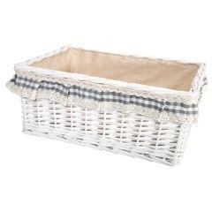Koszyk z wikliny 43 x 31 x 8 cm biały z aplikacją - 43 X 31 X 18 cm - biały/ecru/popielaty 1