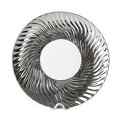 Patera ceramiczna srebrno-biała  - ∅ 27 X 3 cm - srebrny/biały 1