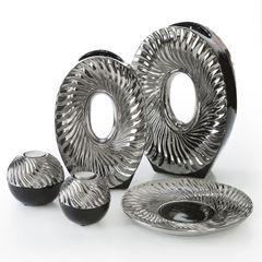 Patera ceramiczna srebrno-biała  - ∅ 27 X 3 cm - srebrny/biały 8