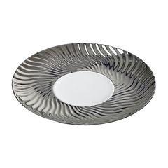 Patera ceramiczna srebrno-biała  - ∅ 27 X 3 cm - srebrny/biały 2
