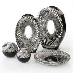 Patera ceramiczna srebrno-biała  - ∅ 27 X 3 cm - srebrny/biały 4