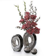 Patera ceramiczna srebrno-biała  - ∅ 27 X 3 cm - srebrny/biały 6