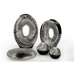 Patera ceramiczna srebrno-biała  - ∅ 27 X 3 cm - srebrny/biały 7