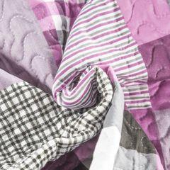 Narzuta dwustronna krata fioletowy+biały 220x240cm - 220 X 240 cm - różowy/wielokolorowy 7