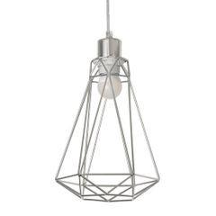 Lampa metalowa loftowa czarno-złota styl industrialny - ∅ 19 X 31 cm - srebrny 7
