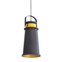 Lampa metalowa loftowa czarno-złota styl industrialny  - ∅ 19 X 36 cm - żółty/czarny 2