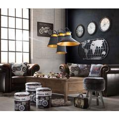 Lampa metalowa loftowa czarno-złota styl industrialny  - ∅ 19 X 36 cm - żółty/czarny 3