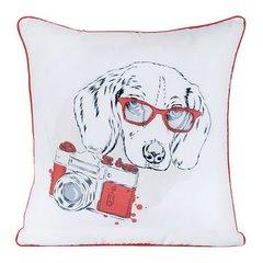 Poszewka pies z nadrukiem biało-czerwona 40 x 40 cm - 40 X 40 cm - biały/czerwony 1