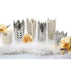Wazon ceramiczny ażurowy srebrny 29 cm - ∅ 15 X 29 cm - srebrny 10