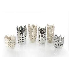 Wazon ceramiczny ażurowy srebrny 29 cm - ∅ 15 X 29 cm - srebrny 2