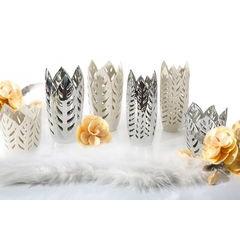 Wazon ceramiczny ażurowy srebrny 29 cm - ∅ 15 X 29 cm - srebrny 4