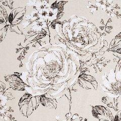Zasłona roślinny ornament beż przelotki 140x250cm - 140 X 250 cm - ecru/brązowy 4