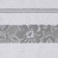 Ręcznik z bawełny z kwiatowym wzorem na bordiurze 70x140cm biały+szary - 70 X 140 cm - biały 8