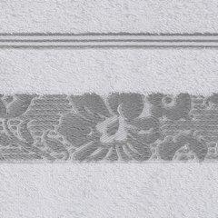 Ręcznik z bawełny z kwiatowym wzorem na bordiurze 70x140cm biały+szary - 70 X 140 cm - biały 9