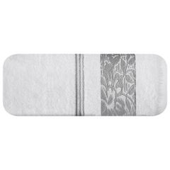 Ręcznik z bawełny z kwiatowym wzorem na bordiurze 70x140cm biały+szary - 70 X 140 cm - biały 2