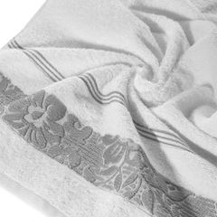 Ręcznik z bawełny z kwiatowym wzorem na bordiurze 70x140cm biały+szary - 70 X 140 cm - biały 5