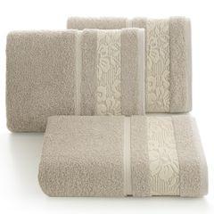 Ręcznik z bawełny z kwiatowym wzorem na bordiurze 50x90cm beżowy - 50 X 90 cm - beżowy 1