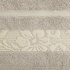 Ręcznik z bawełny z kwiatowym wzorem na bordiurze 50x90cm beżowy - 50 X 90 cm - beżowy 10