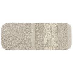 Ręcznik z bawełny z kwiatowym wzorem na bordiurze 50x90cm beżowy - 50 X 90 cm - beżowy 2