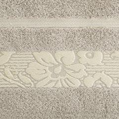 Ręcznik z bawełny z kwiatowym wzorem na bordiurze 50x90cm beżowy - 50 X 90 cm - beżowy 4