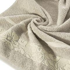 Ręcznik z bawełny z kwiatowym wzorem na bordiurze 50x90cm beżowy - 50 X 90 cm - beżowy 5