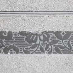 Ręcznik z bawełny z kwiatowym wzorem na bordiurze 50x90cm popielaty - 50 X 90 cm - srebrny 4
