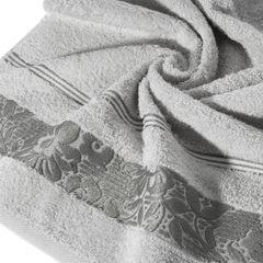 Ręcznik z bawełny z kwiatowym wzorem na bordiurze 70x140cm popielaty - 70 X 140 cm - srebrny 10