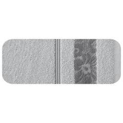 Ręcznik z bawełny z kwiatowym wzorem na bordiurze 70x140cm popielaty - 70 X 140 cm - srebrny 2