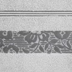 Ręcznik z bawełny z kwiatowym wzorem na bordiurze 70x140cm popielaty - 70 X 140 cm - srebrny 4