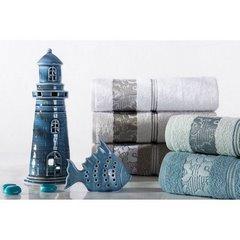 Ręcznik z bawełny z kwiatowym wzorem na bordiurze 70x140 jasnoszary - 70 X 140 cm - stalowy 9