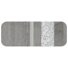 Ręcznik z bawełny z kwiatowym wzorem na bordiurze 70x140 jasnoszary - 70 X 140 cm - stalowy 2