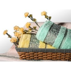 Ręcznik z bawełny z kwiatowym wzorem na bordiurze 70x140 jasnoszary - 70 X 140 cm - stalowy 7