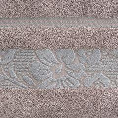 Ręcznik z bawełny z kwiatowym wzorem na bordiurze 50x90cm wrzosowy - 50 X 90 cm - liliowy 4