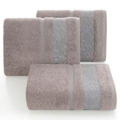 Ręcznik z bawełny z kwiatowym wzorem na bordiurze 70x140cm wrzosowy - 70 X 140 cm - liliowy 1